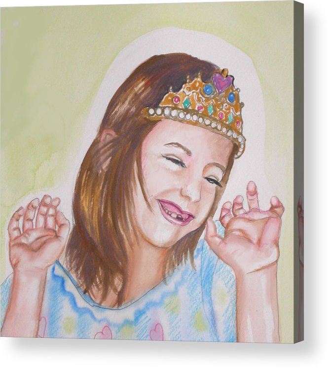Princess Acrylic Print featuring the painting Pretty Princess by Anne Cameron Cutri