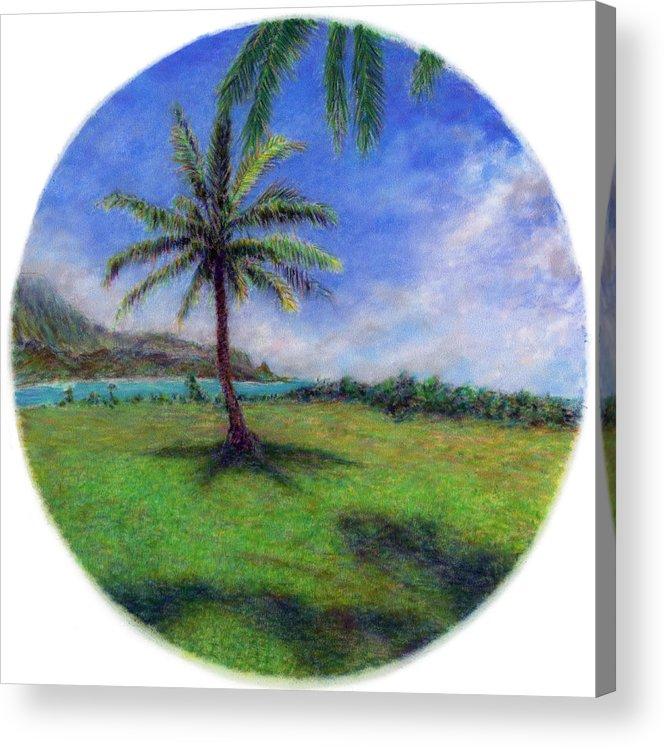 Rainbow Colors Pastel Acrylic Print featuring the painting Princeville Palm by Kenneth Grzesik