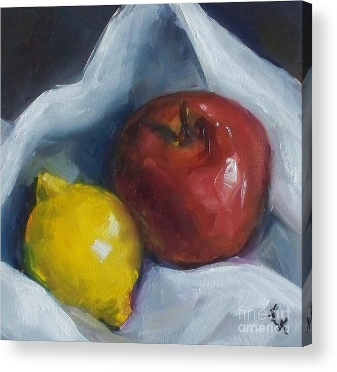 Apple Acrylic Print featuring the painting Pucker Up by Kristine Kainer