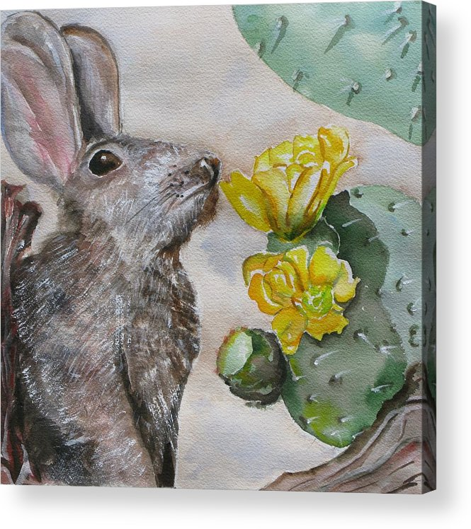 Acrylic Print featuring the painting Rabbit With Flower by Kathy Mitchell