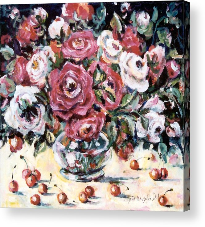 Ingrid Dohm Acrylic Print featuring the painting Red And White Roses II by Ingrid Dohm