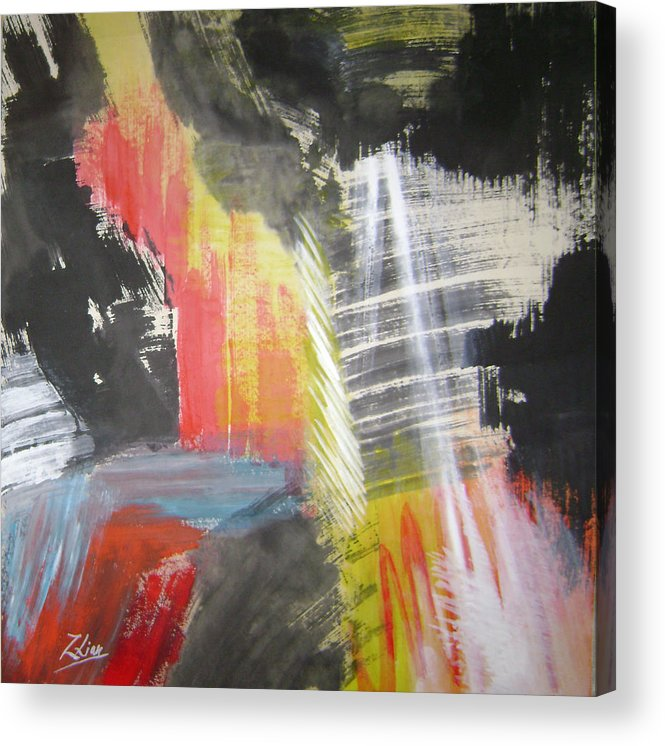 Abstract Acrylic Print featuring the mixed media Red Waterfalls by Lian Zhen