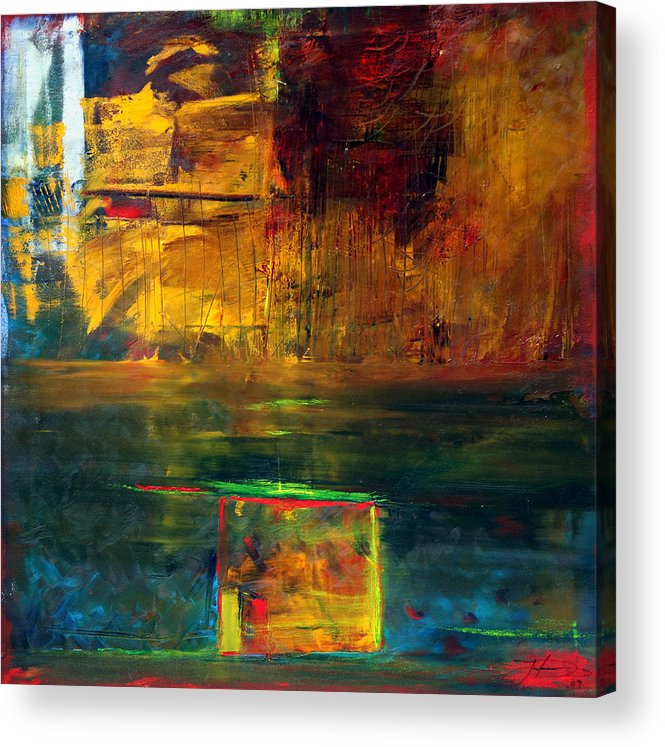 New York City Reflection Red Yellow Blue Green Acrylic Print featuring the painting Reflections Of New York by Jack Diamond