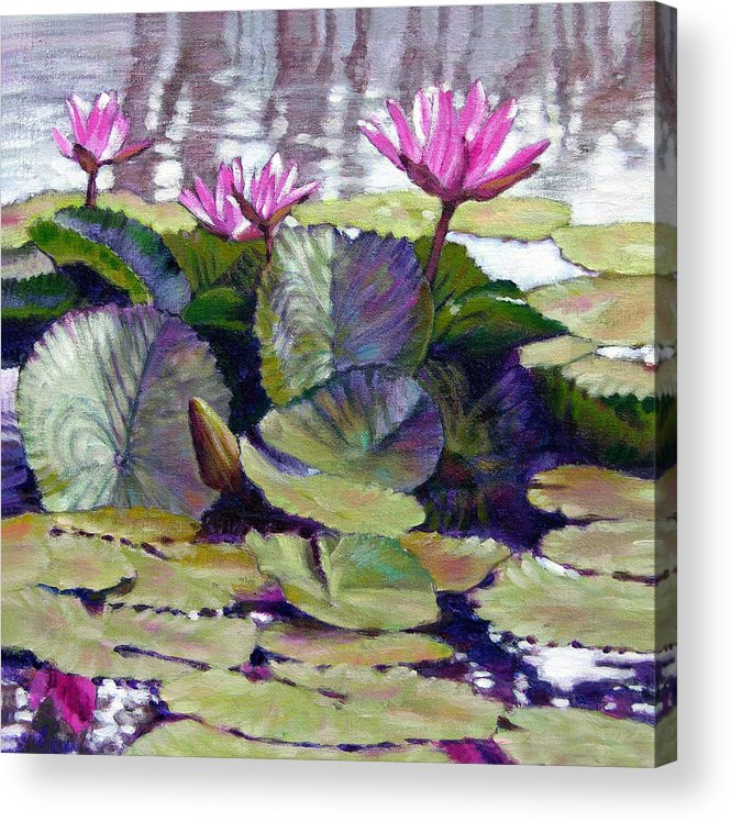 Water Lilies Acrylic Print featuring the painting Summer Breeze by John Lautermilch