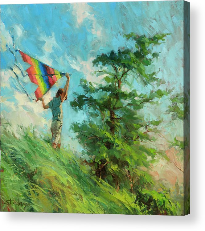Boy Acrylic Print featuring the painting Summer Breeze by Steve Henderson