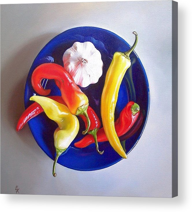 Still Life Acrylic Print featuring the painting Summer Plate 1 by Elena Kolotusha