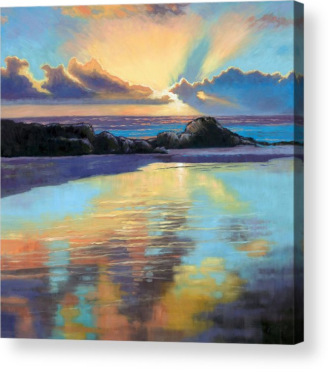 Beach Acrylic Print featuring the painting Sunset At Havika Beach by Janet King