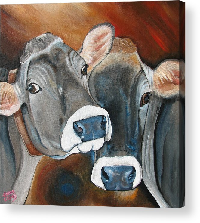 Brown Swiss Acrylic Print featuring the painting Swiss Misses by Laura Carey
