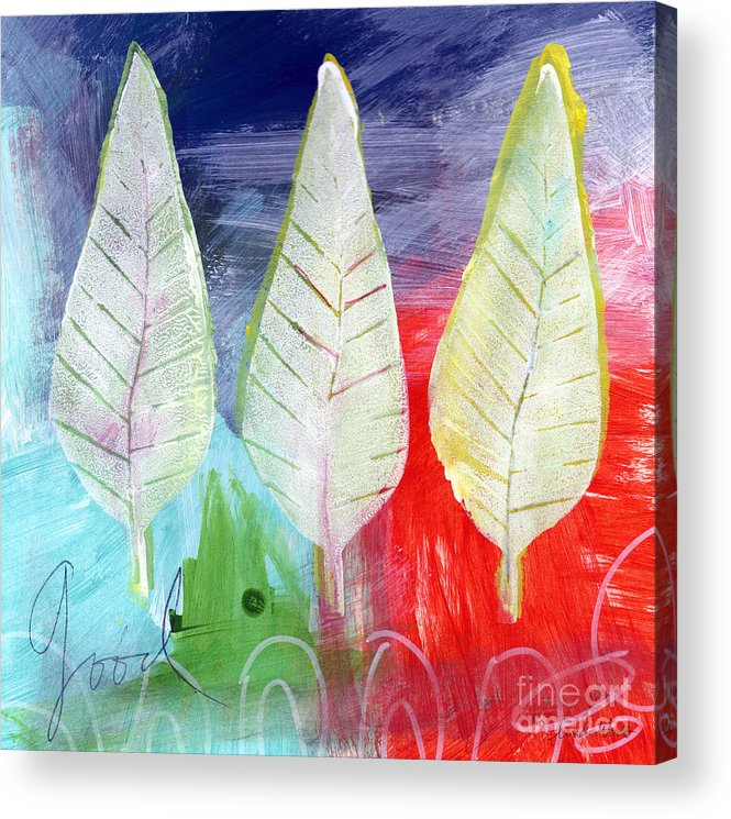 Abstract Acrylic Print featuring the painting Three Leaves Of Good by Linda Woods