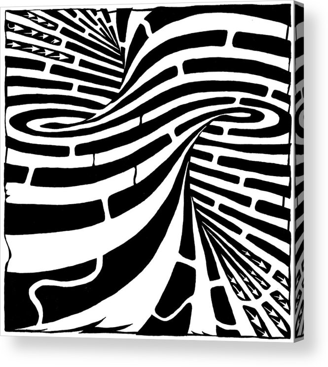 Maze Acrylic Print featuring the drawing Tornado Maze by Yonatan Frimer Maze Artist