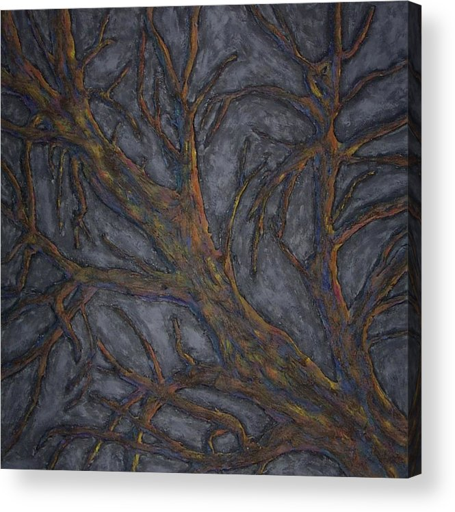 Tree Relief Abstract Acrylic Print featuring the painting Tree Again by Sally Van Driest