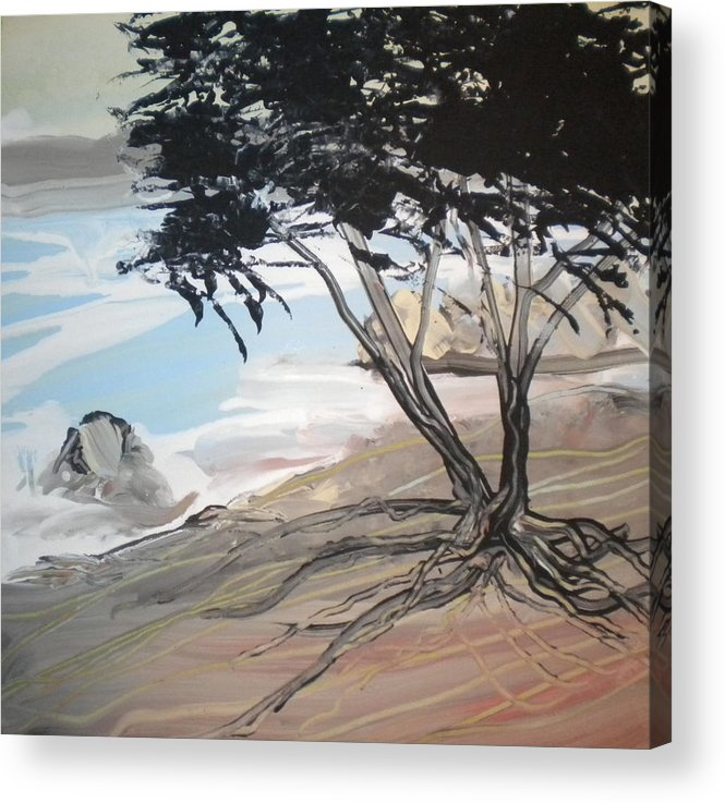 Alzheimer's Acrylic Print featuring the painting Tree By The Sea By Betty by Art Without Boundaries