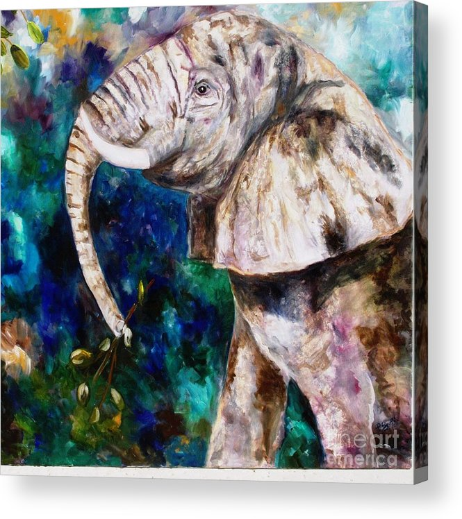 African Elephant Acrylic Print featuring the painting Trouble by Pamela Squires