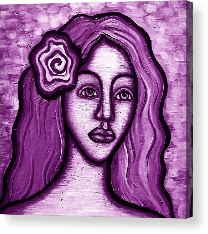 Purple Acrylic Print featuring the painting Violet Lady by Brenda Higginson