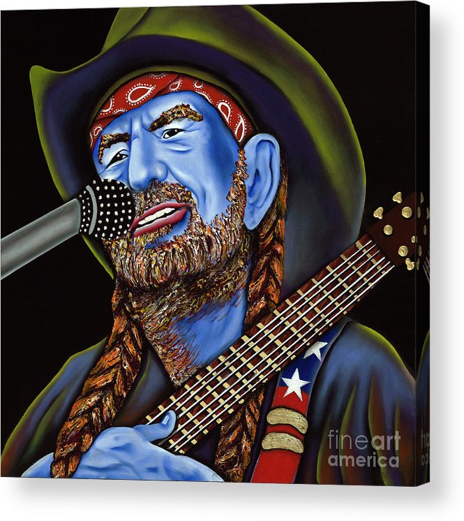 Portrait Acrylic Print featuring the painting Willie by Nannette Harris