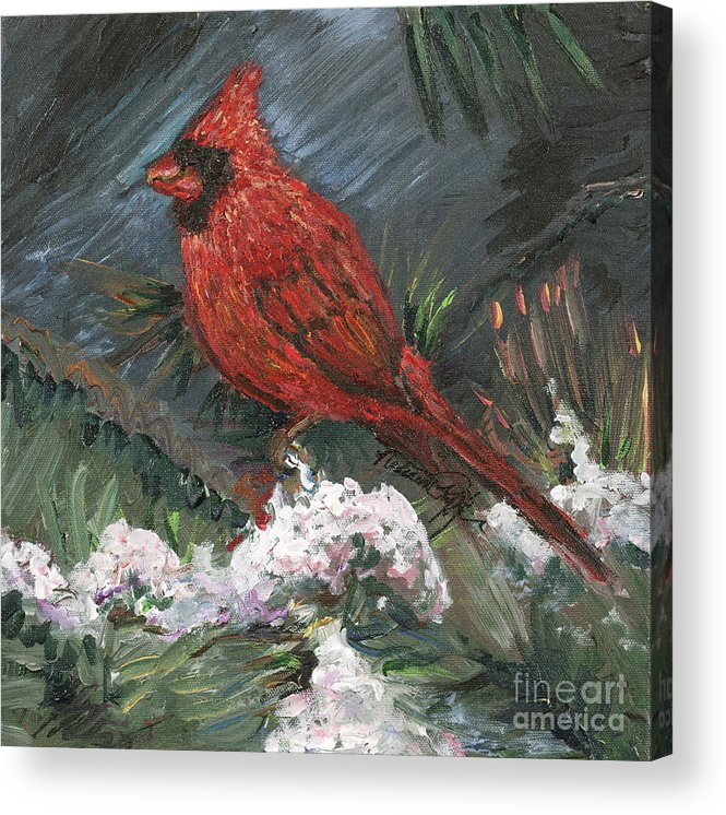Bird Acrylic Print featuring the painting Winter Cardinal by Nadine Rippelmeyer