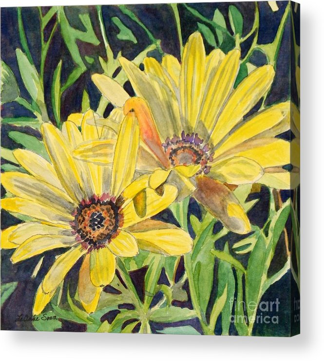 Daisy Acrylic Print featuring the painting Yellow Daisy by LeAnne Sowa