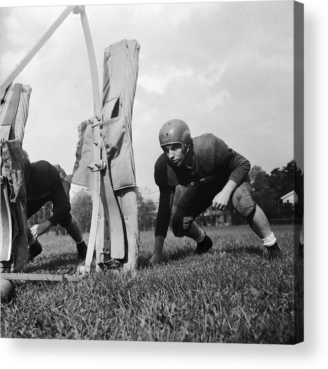 Sports Helmet Acrylic Print featuring the photograph Football Training by Barry