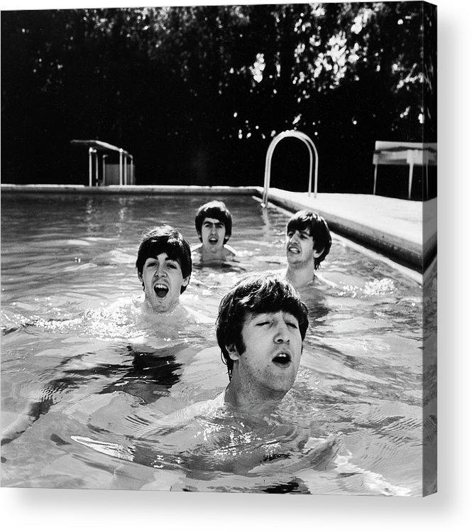 Singer Acrylic Print featuring the photograph L-r Paul Mccartney, George Harrison by John Loengard