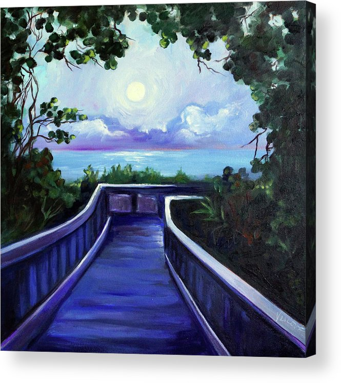 Super Moon Acrylic Print featuring the painting Path To Supermoon 2 by Valerie Vescovi