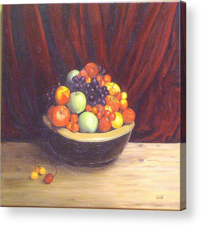 Still Life Acrylic Print featuring the painting Bowl Of Fruits by Srilata Ranganathan
