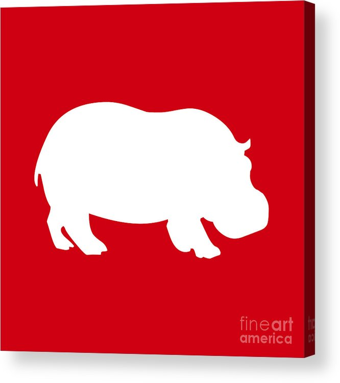 Graphic Art Acrylic Print featuring the digital art Hippo In Red And White by Jackie Farnsworth