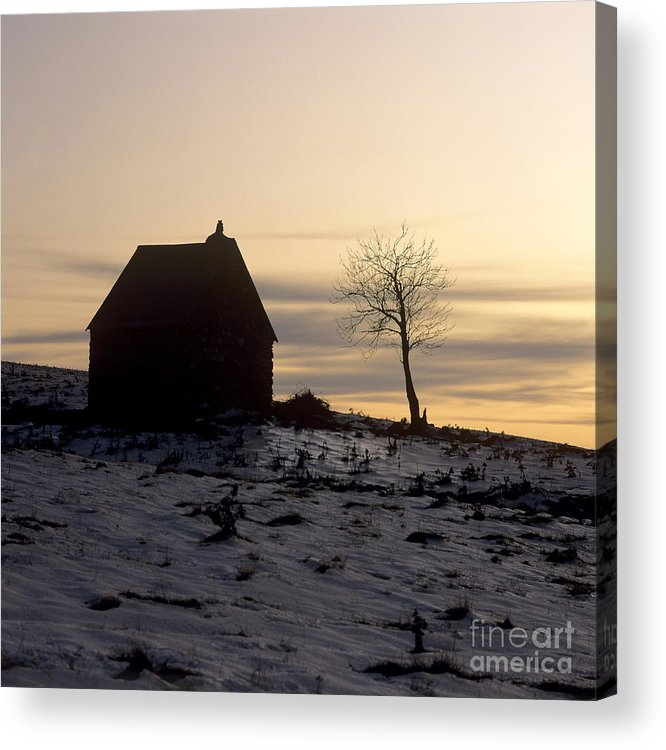 Outdoors Acrylic Print featuring the photograph Silhouette Of A Farm And A Tree. Cezallier. Auvergne. France by Bernard Jaubert