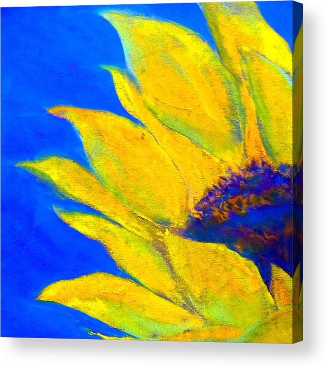 Sunflower Acrylic Print featuring the painting Sunflower In Blue by Sue Jacobi
