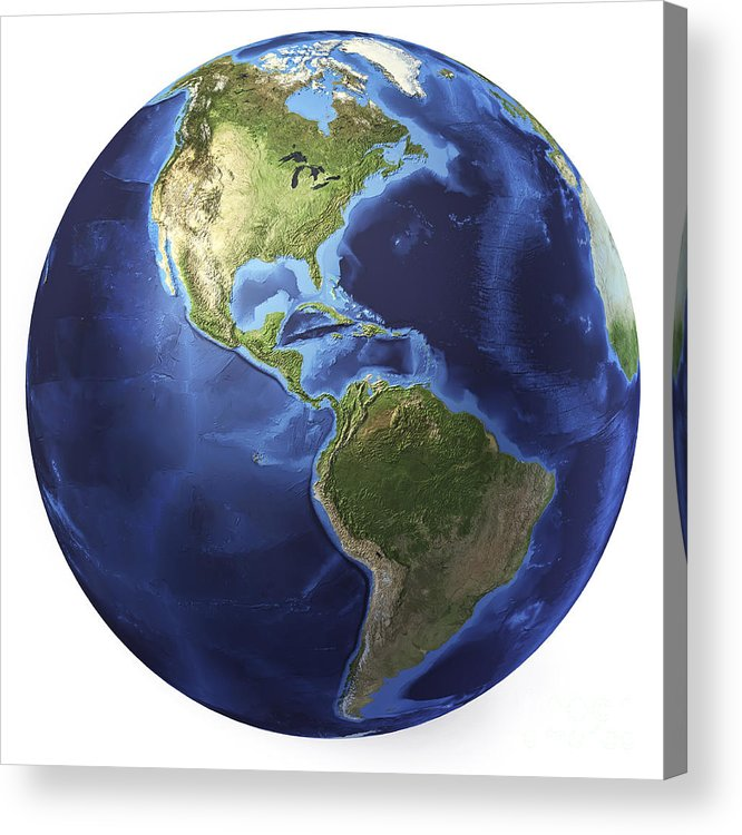Relief Map Acrylic Print featuring the digital art 3d Rendering Of Planet Earth, Centered by Leonello Calvetti