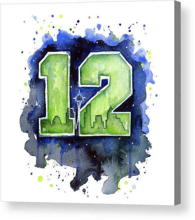 Seahawks Acrylic Print featuring the painting 12th Man Seahawks Art Seattle Go Hawks by Olga Shvartsur