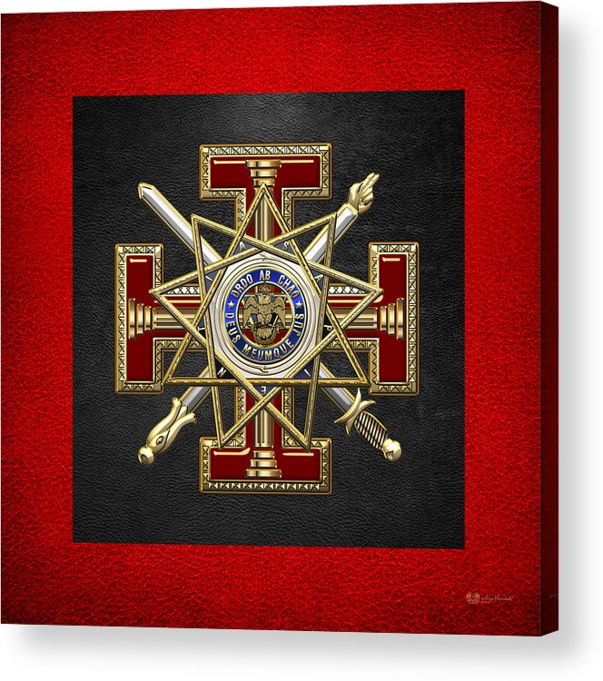 'ancient Brotherhoods' Collection By Serge Averbukh Acrylic Print featuring the digital art 33rd Degree Mason - Inspector General Masonic Jewel by Serge Averbukh