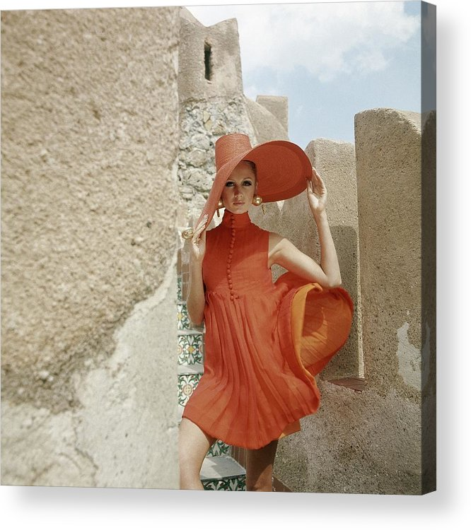 Fashion Acrylic Print featuring the photograph A Model Wearing A Orange Dress by Henry Clarke