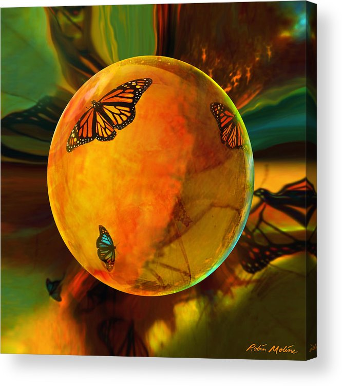 Butterflies Acrylic Print featuring the digital art Ambered Butterfly Orb by Robin Moline