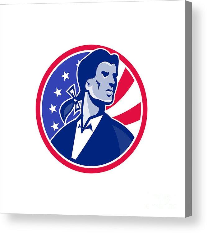 Patriot Acrylic Print featuring the digital art American Patriot Minuteman Stars Stripes Flag by Retro Vectors