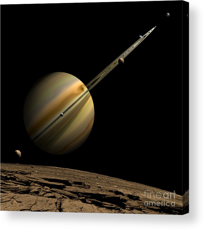 Astronomy Acrylic Print featuring the digital art An Artists Depiction Of A Ringed Gas by Marc Ward
