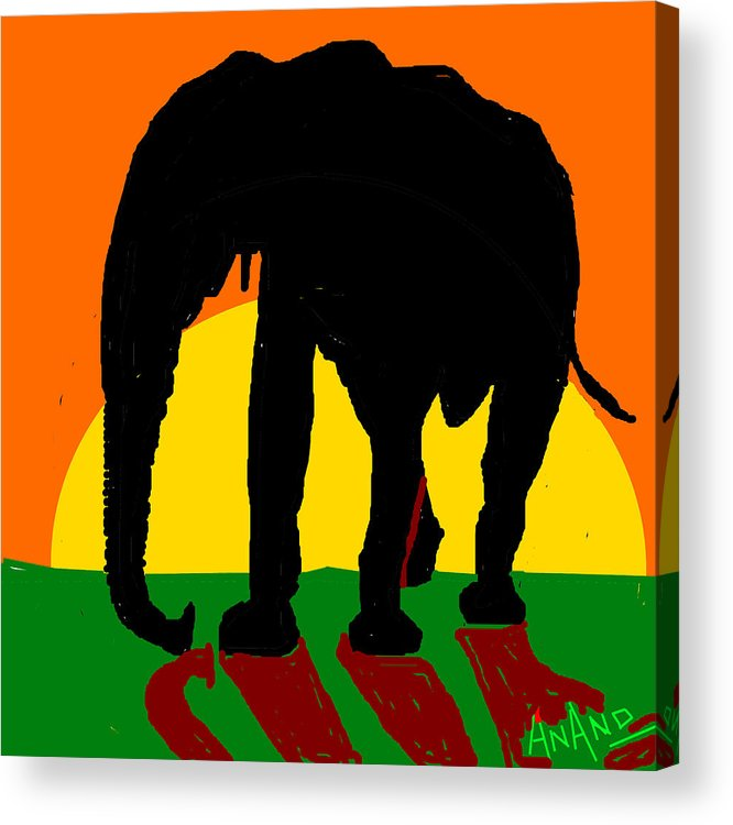 An Elephant And Sun Acrylic Print featuring the digital art An Elephant And Sun by Anand Swaroop Manchiraju