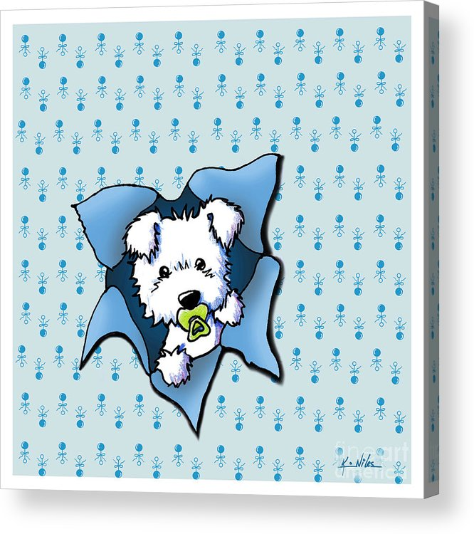 New Baby Art Acrylic Print featuring the drawing Baby Westie Blast by Kim Niles