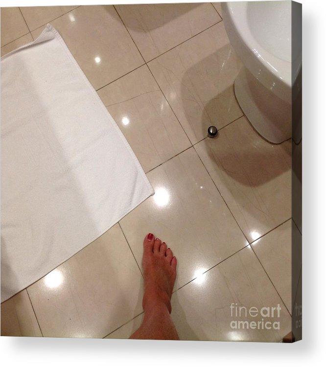 Toes Acrylic Print featuring the photograph Bathroom Foot Entering A Bathroom by Regina Siebrecht