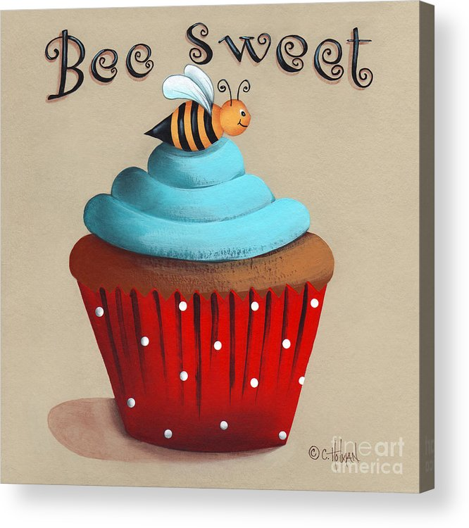Art Acrylic Print featuring the painting Bee Sweet Cupcake by Catherine Holman