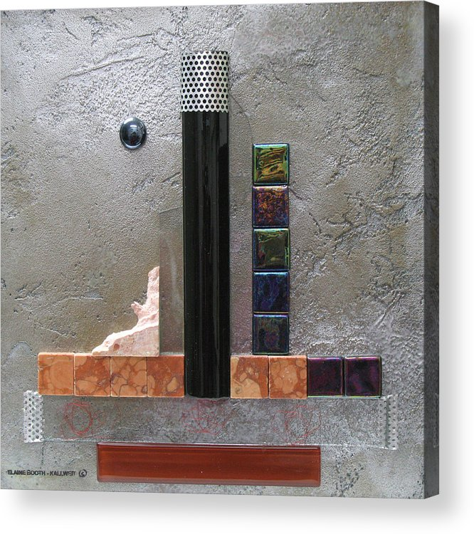 Assemblage Acrylic Print featuring the relief Black Tower by Elaine Booth-Kallweit