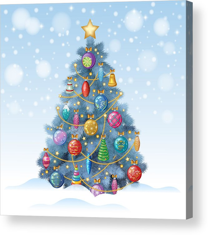 Colorful Christmas Tree Vector.Blue Christmas Tree With Colorful Ornaments Vector Illustration Acrylic Print