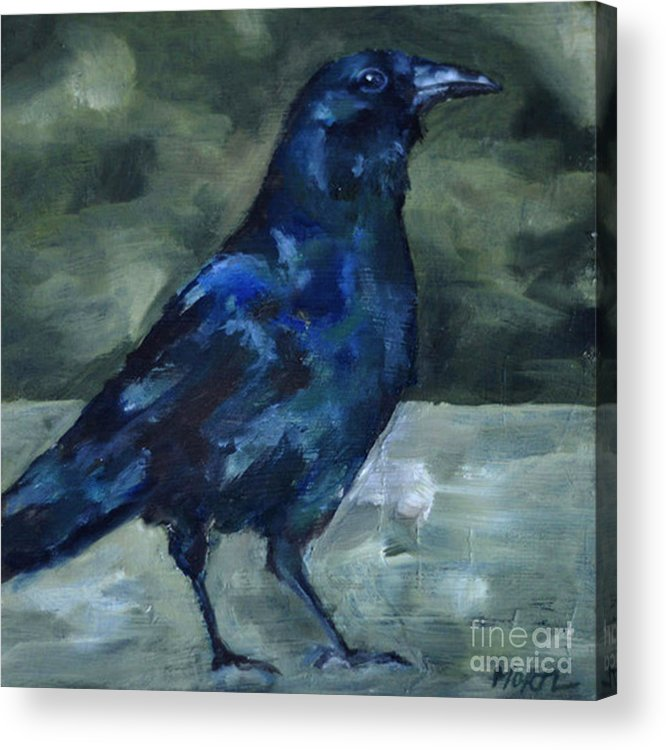 Blackbird Acrylic Print featuring the painting Blue Crow by Deb Mortl