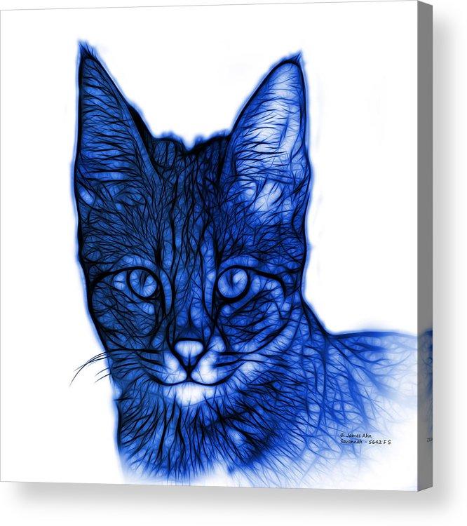 Cat Acrylic Print featuring the digital art Blue Savannah Cat - 5462 F S by James Ahn