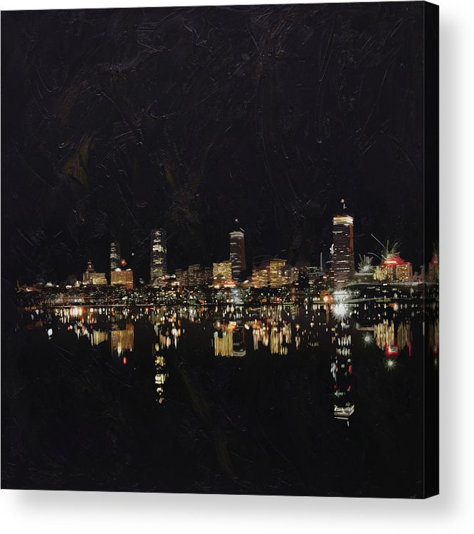 Boston City Acrylic Print featuring the painting Boston City Skyline 2 by Corporate Art Task Force