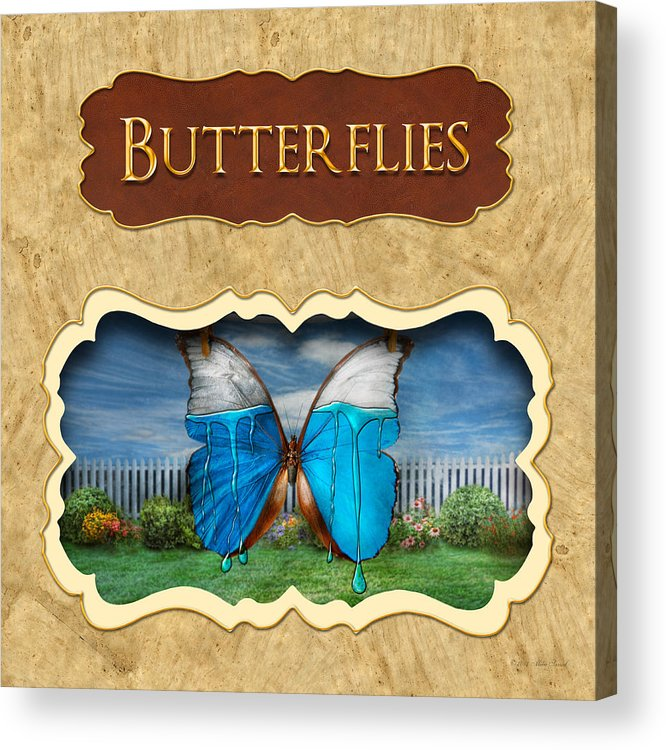 Butterflies Acrylic Print featuring the photograph Butterflies Button by Mike Savad