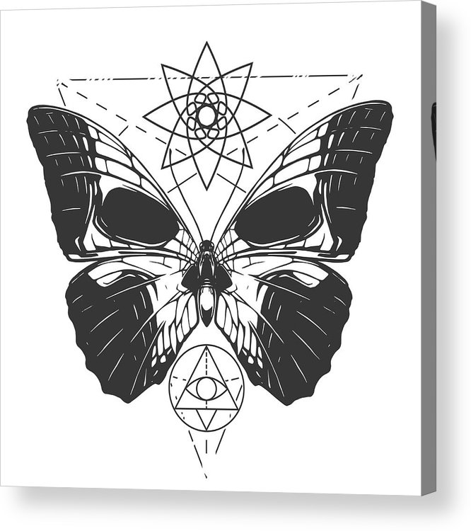 5bfd8d380 Gothic Style Acrylic Print featuring the drawing Butterfly Tattoo  Illustration by D1sk