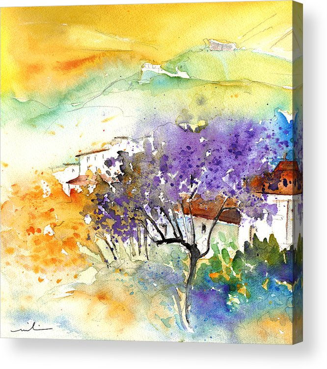 Watercolour Acrylic Print featuring the painting By Teruel Spain 01 by Miki De Goodaboom