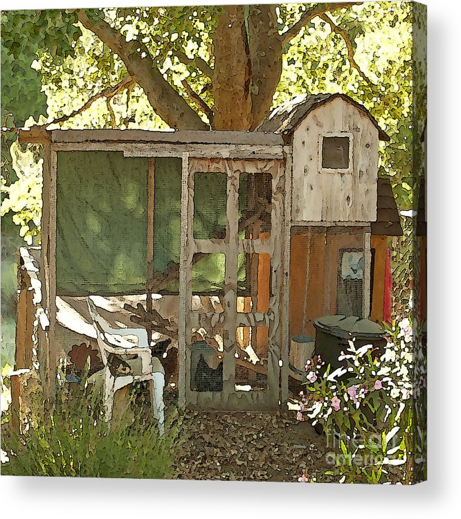Rooster Art Acrylic Print featuring the painting Chicken Coop On The Farm by Artist and Photographer Laura Wrede
