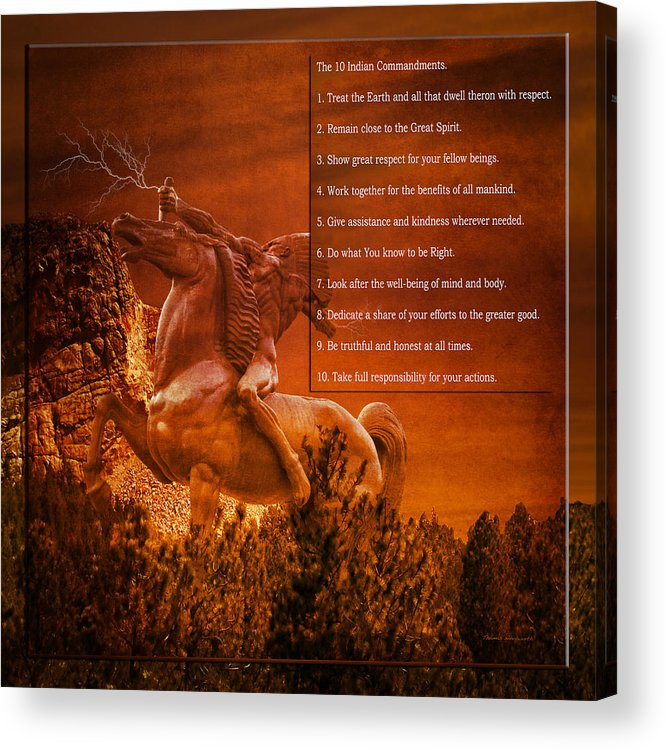 Tribal Acrylic Print featuring the digital art Chief Shabbona And The Ten Indian Commandments by Thomas Woolworth