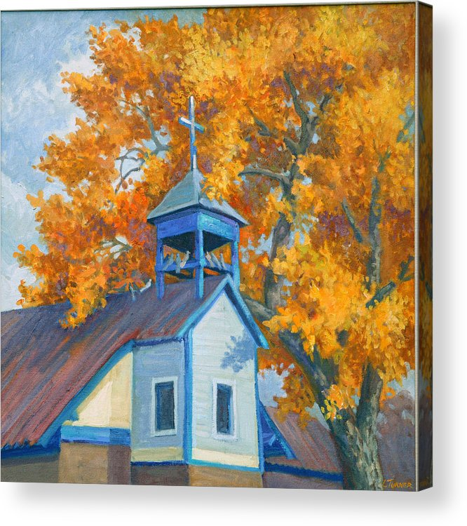 Church Acrylic Print featuring the painting Church And Cottonwoods by Douglas Turner